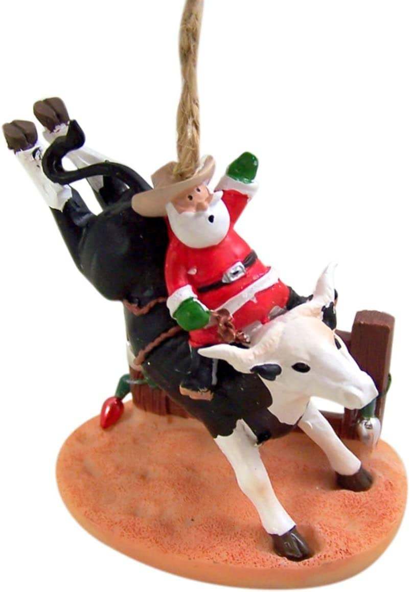 Wowser Cast Resin Bull Riding Santa Claus Hanging Christmas Tree Ornament, 3 1/4 Inch