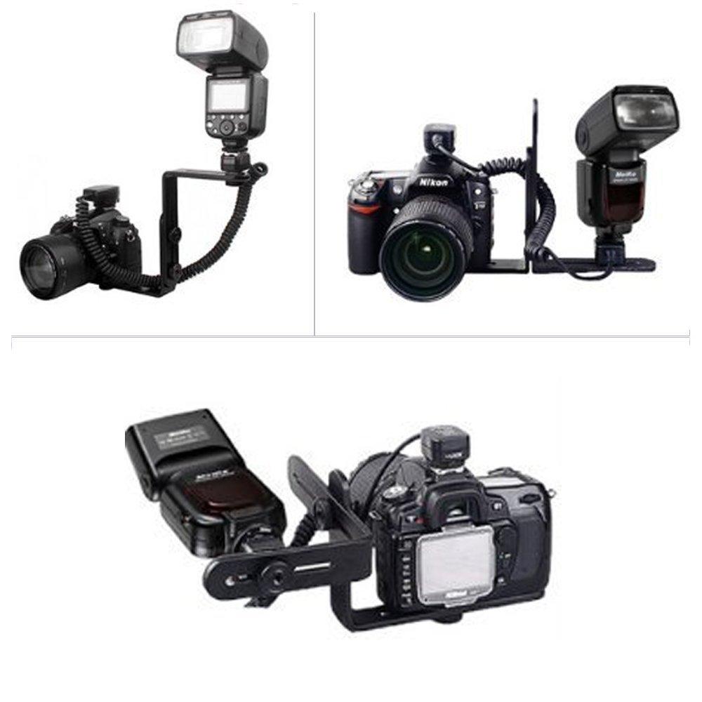 Dual-L Shaped Flash Bracket for Canon 5D II 7D 50D 60D 550D Nikon D7000 D300s D700 D90 Camera Flash Mount Bracket