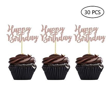 Palillos para decoración de cupcakes de oro rosa para ...