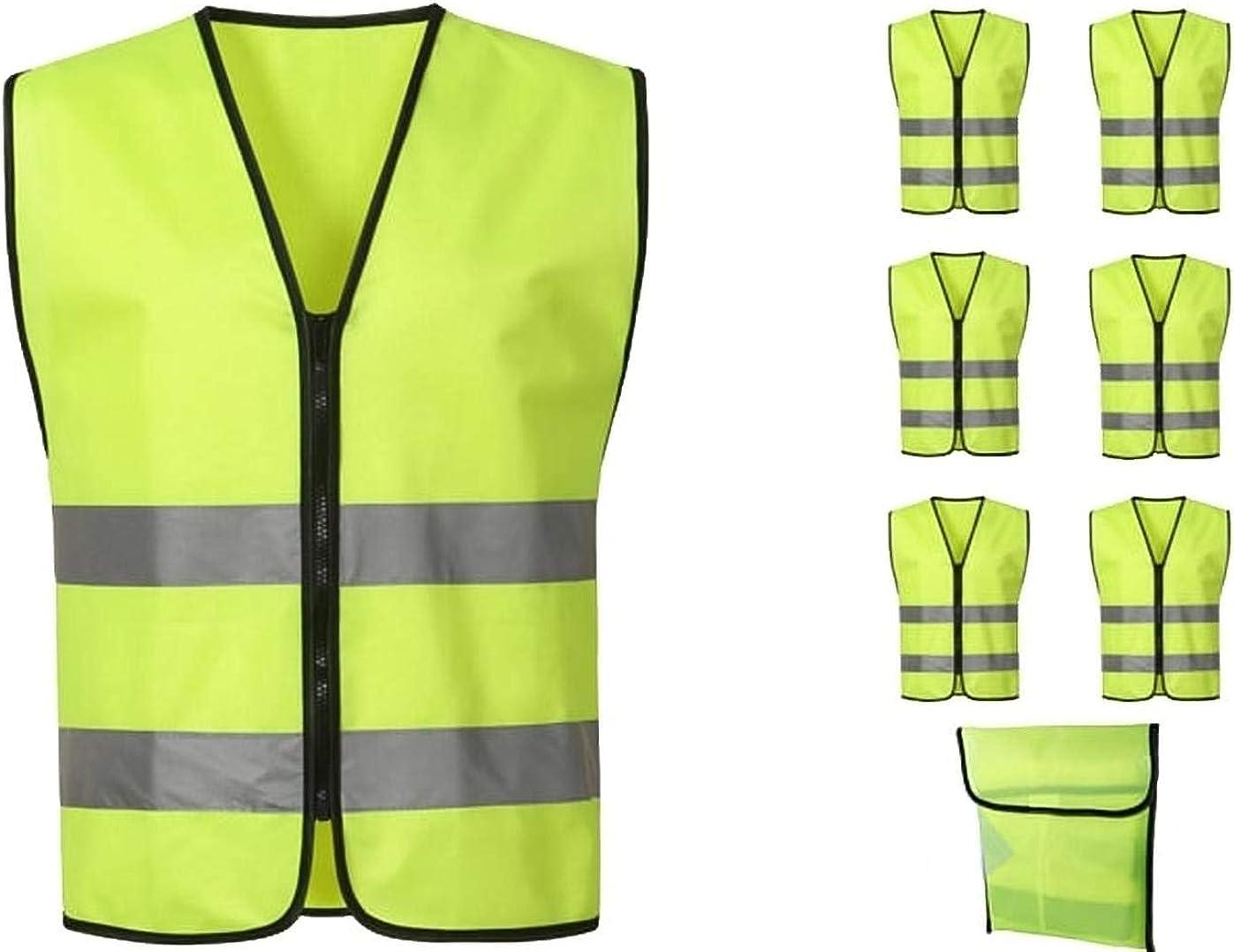 Gelb verdeckter Rei/ßverschluss M XXL // 2XL Safe Max/® Sicherheitsweste Warnweste Motorrad Fahrrad gelb Warnweste Motorrad Warnweste mit Rei/ßverschluss Dehnbare Elemente reflektierende Streifen