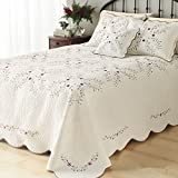 LELVA Oversized Embroidery Bedspreads Bed Coverlets Cover Set Floral Patchwork Quilt Set California King Beige 3Pcs 118'' X 118''