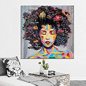 KICODE Abstract Modern African Women Portrait Canvas Oil Painting On Prints Home Livingroom Art Picture