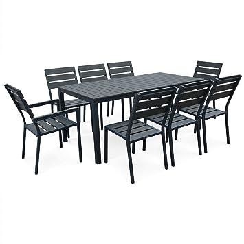 Alices Garden-Set de mesa y sillas de jardín 8 personas ...
