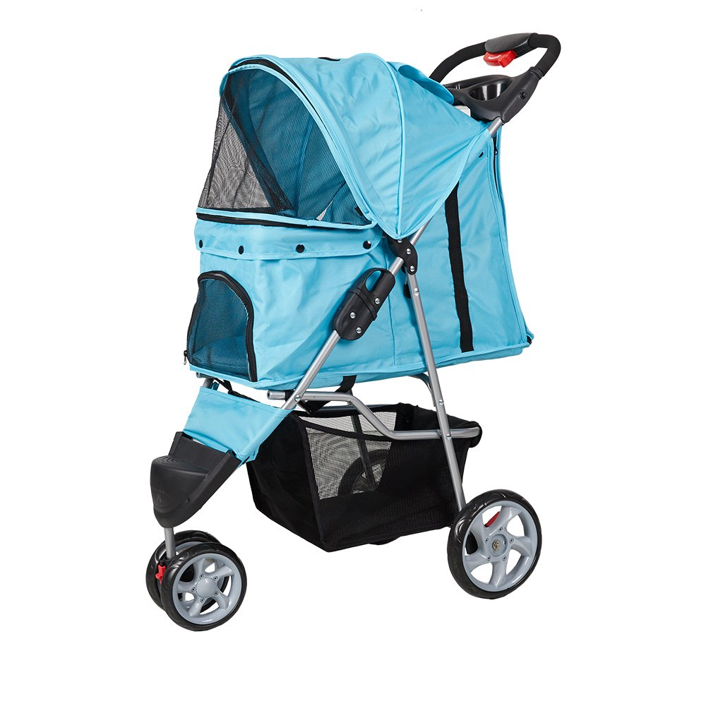 Lucky Tree Pet Stroller Folding Pet Cat Carrier Travel Cart With Three Wheels (blue)