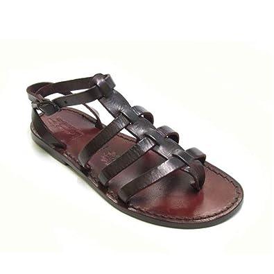 ddf25b1c724be3 Gianluca - Handmade Women s Dark Brown Calf Leather Flat Sandals Sandals -  Size  11 US
