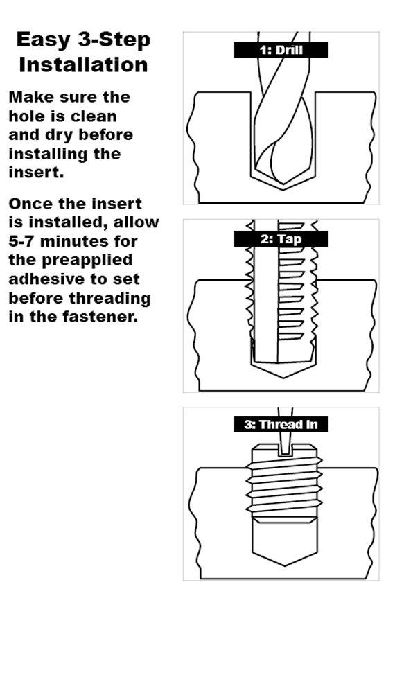 0.290 Length E-Z Lok Externally Threaded Insert Pack of 10 5//16-18 External Threads C12L14 Carbon Steel Meets AISI 12L14 Made in US #8-32 Internal Threads
