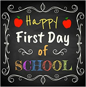 YongFoto 6x6ft Happy First Day of School Backdrop Chalk Painting Blackboard Background for Photography Welcome Theme Party Banner Online Class Decor Kid Children Portrait Studio Props Wallpaper