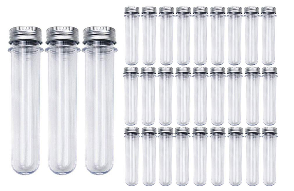Kissmi 30pcs 25x140mm(45ml) Clear Plastic Test Tube with Caps, for Salt Container,Bath Salts, Classroom Supplies,Storage Container