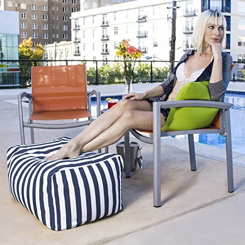 Outdoor Striped Bean Bag Ottoman, Comfortable and Modern, Side-Table, Extra Seat, Fade, Mold, Stain, UV, and Weather Resistant Outer Cover, Inner Liner, Navy Striped by Jaxterrific (Image #2)'