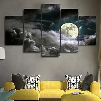 la vie 5 teilig wandbild gemalde mond und wolke hochwertiger leinwand bilder moderne kunstdruck als olbild
