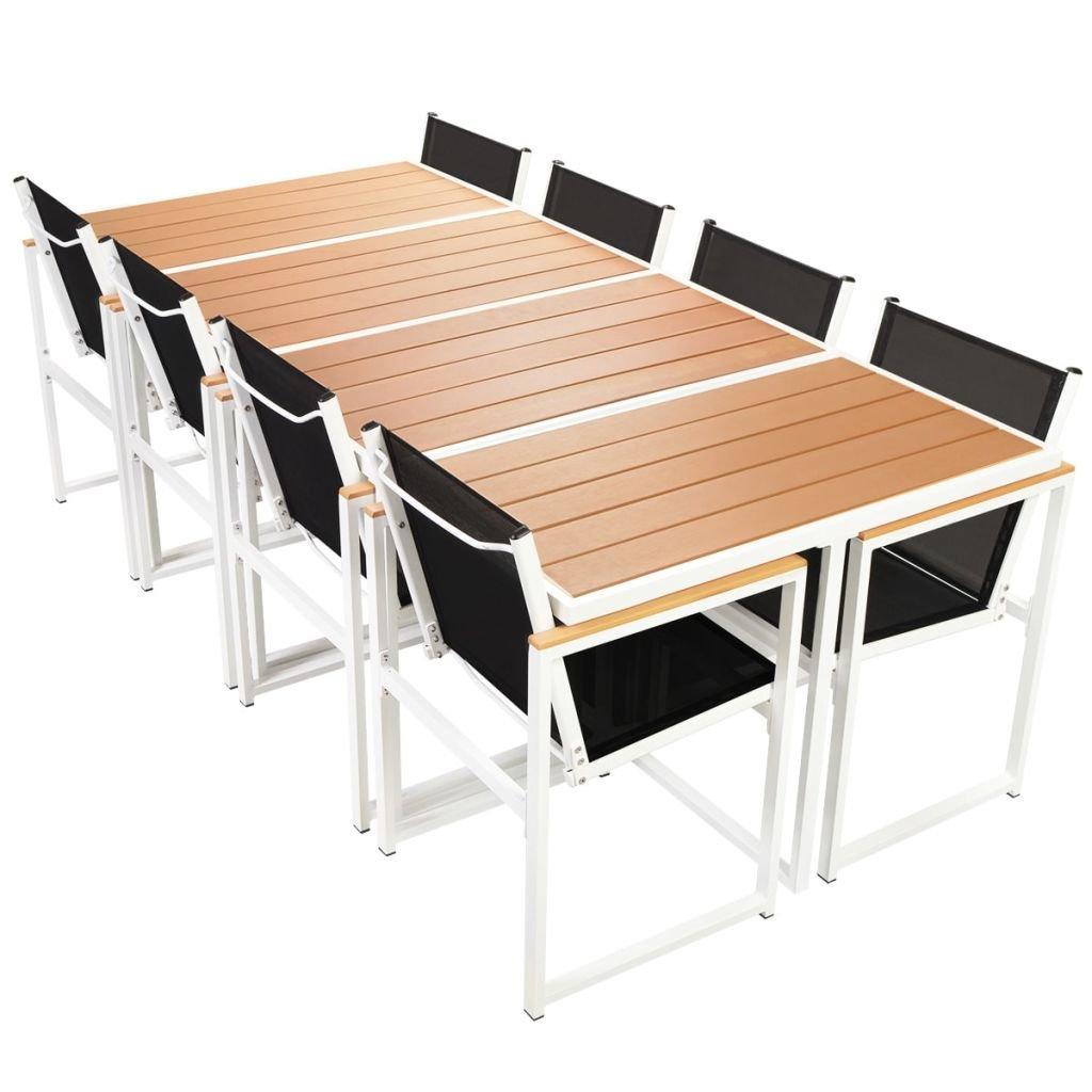 vidaXL Garten Essgruppe 9-tlg. Alu Aluminium WPC Gartengarnitur ...