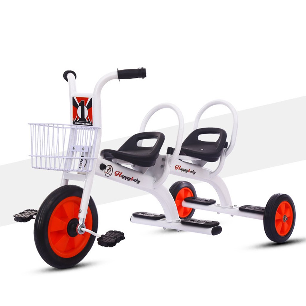 White WLWWY Kids Tricycle,Trike Bike Handle Twin Seats For Baby Infant Toddler,Toy Cars, Twins, Outdoor Cars