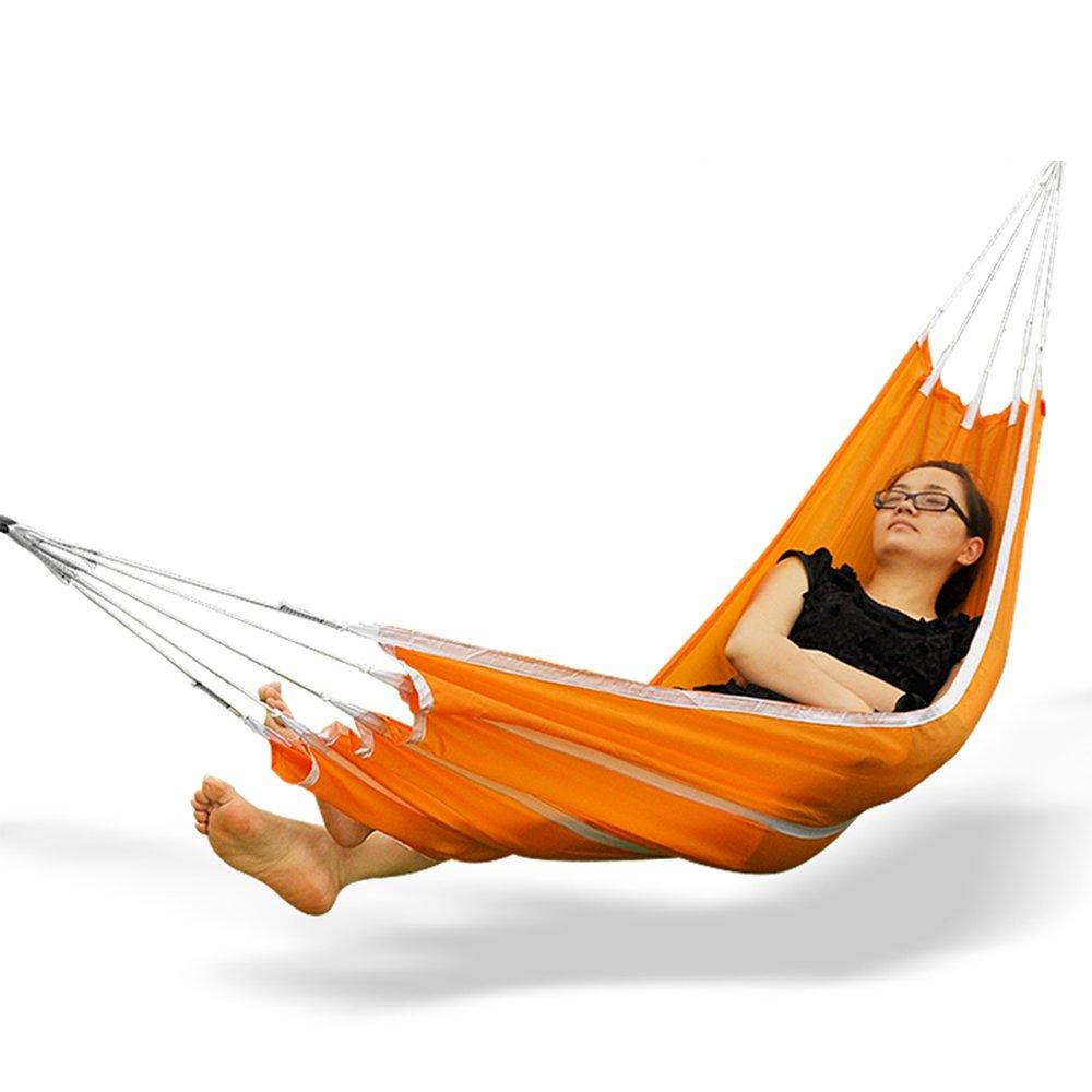 GWDJ Hängematte Outdoor Camping Schaukel Hängematte Parachute Tuch Single Double Freizeit Hängematte Tragbare Hängematte (Farbe : Orange, größe : 270 * 145CM)