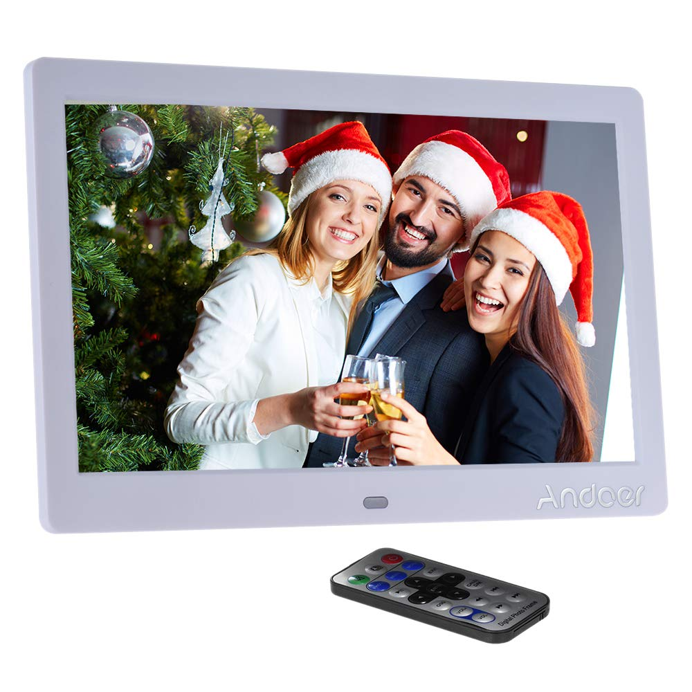 Andoer 10' HD Wide Screen LCD Digital Photo Picture Frame High Resolution 1024*600 Clock MP3 MP4 Video Player with Remote Control for Birthday Gift Present