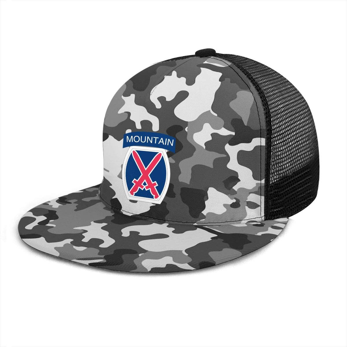 Army 10th Infantry Division Classic Grid Cap Flat Along Baseball Hat Snapback Unisex Hat Adjustable