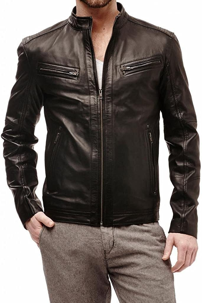 Stylish Mens Biker Cow Leather Casual Jacket LTC465