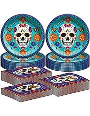 "Amscan Day of The Dead Dinnerware Party Bundle | 40 Luncheon Napkins, 20 Dinner Plates 10"" | Halloween Parties Dia de Los Muertos"