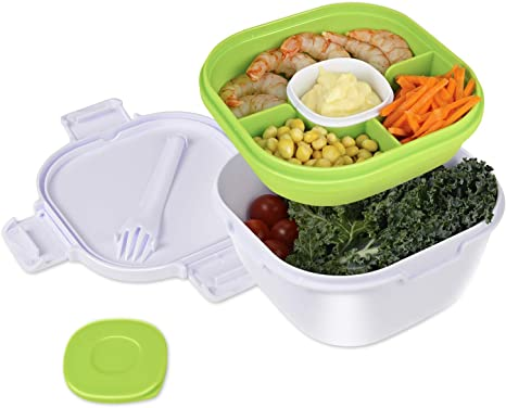 Women Benrii Salad Lunch Container Men Leak-Proof Salad Bowls with 4 Compartments Sauce Container /& Built-In Reusable Spork for Kids Cherry Red Detachable Ice Pack Bento Box with 42-oz Bowl