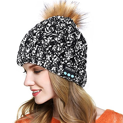 Happy-top Bluetooth Beanie Winter Soft Warm Music Knitted Hat Cap Stereo Headphone Headset Speaker Wireless Mic Hands-Free Men Women Outdoor Sports Running Skating Hiking Christmas Gifts (Black)