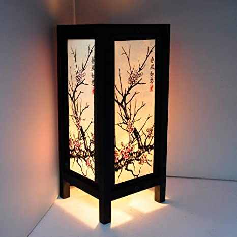 Cherry Blossom White Black Pink Painting 11u0026quot; Wood Bedside Or Table Lamp  Japanese Oriental Collectible