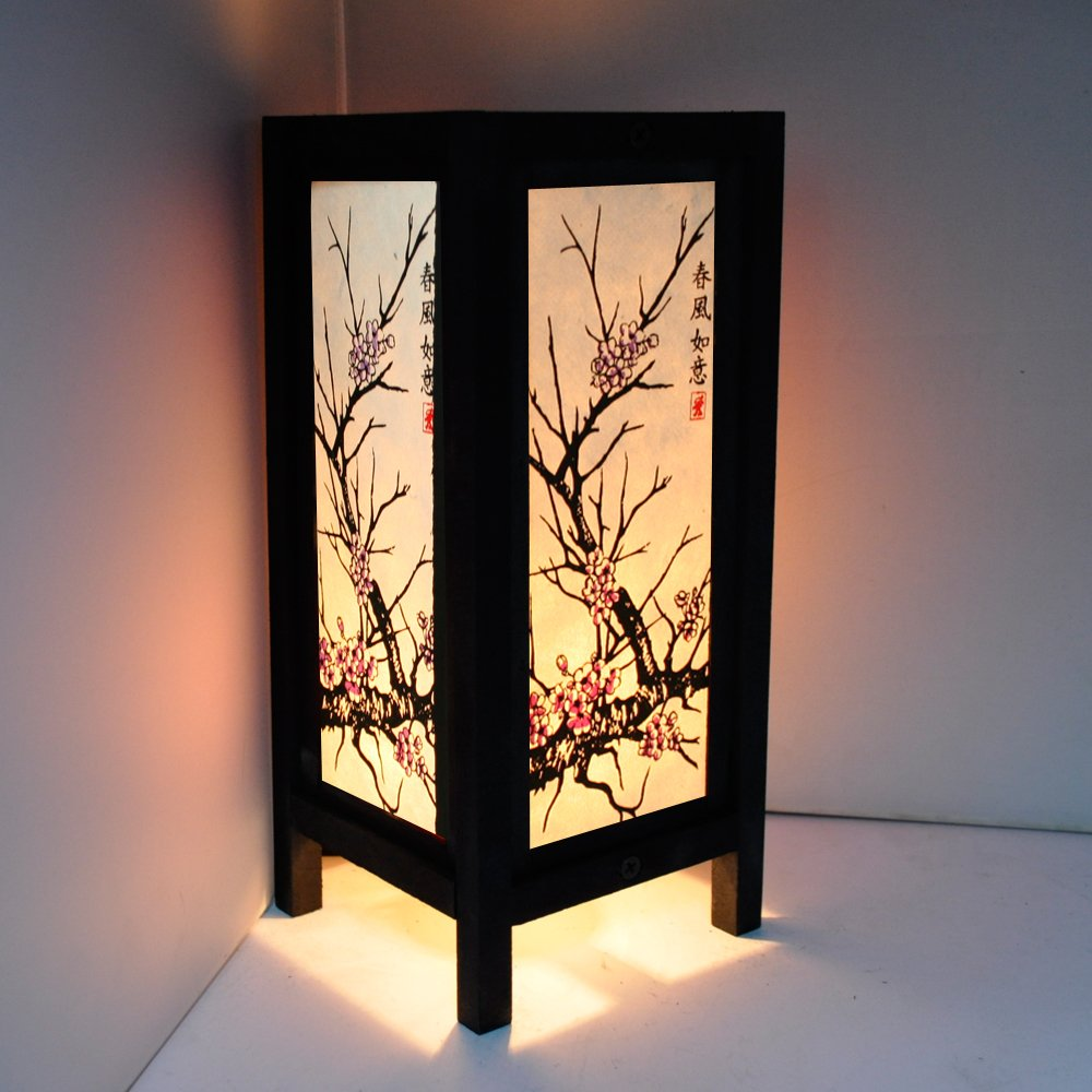 Cherry Blossom White Black Pink Painting 11'' Wood Bedside or Table Lamp Japanese Oriental Collectible Handmade Asian Vintage Lighting for Home Décor
