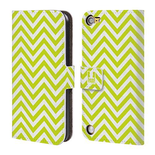 Head Case Designs Verde Lime Chevron Neon Cover a portafoglio in pelle per iPod Touch 5th Gen / 6th Gen