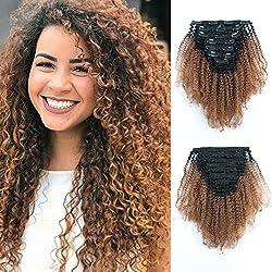 "Loviro 3C 4A Afro Kinky Curly 9A Grade Clip in Human Extensions Virgin Hair for Black Women Ombre Tone Natural Black Fading into Light Auburn TN30 7 Pcs 120g 18"""