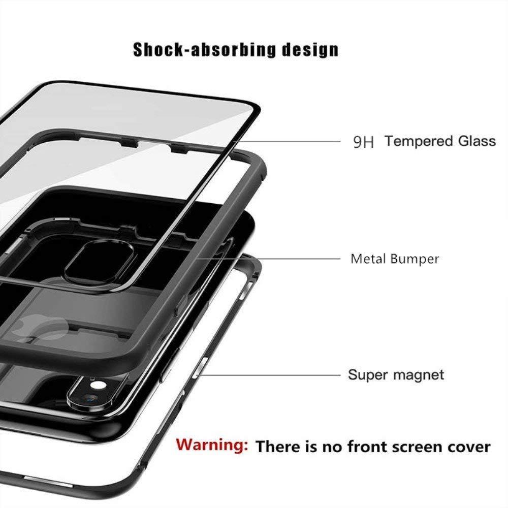 Magn/étique Adsorption Technologie Ultra Mince Aluminium M/étal Antichoc Bumper Cadre et Transparent Verre Tremp/é Retour Anti Rayure Noir Coque Xiaomi Redmi Note 5