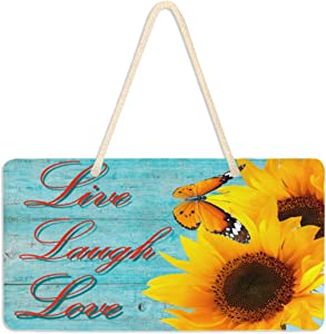 "Exnundod Live Laugh Love Wall Hanging Pediment Door Sign Sunflower Plaque Porch Decor Light Weight 6""x11"" for Home Yard Office Shop Cafe Restaurant"