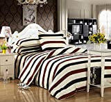 4pcs Bedding Duvet Cover Flat Bed Sheet Pillowcase No Comforter BC Twin Full Queen Plain Lattice State College Design For Children Teen Living Room (Queen, Bar Line 2, Brown)