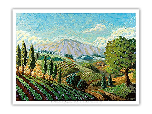 Watercolor Original Painting - Pacifica Island Art A Walk in the Vineyards - Tuscany Italy - Italian Vineyards, Cypress Trees - From an Original Watercolor Painting by Robin Wethe Altman - Master Art Print - 9in x 12in