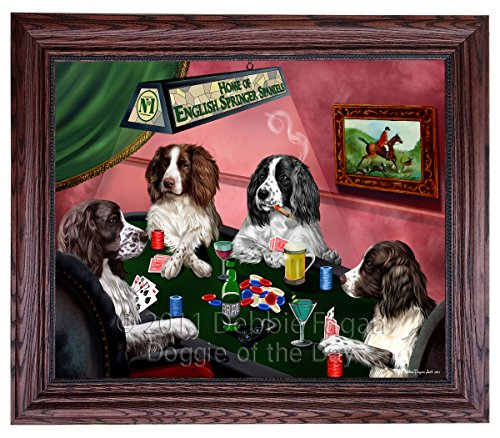 Home of English Springer Spaniel 4 Dogs Playing Poker