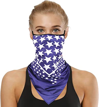 UV Sun Dust Windproof Triangle Scarf USA Flag Face Bandana Neck Gaiter
