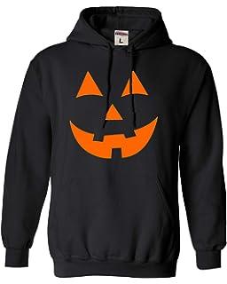 Men/'s Pumpkin Skull Face Black Hoodie Scary Evil Halloween Pullover Sweater