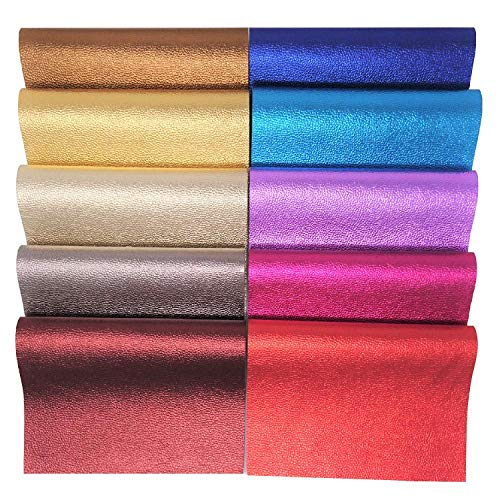 10 Pieces 10 Metallic Colors Faux Leather Fabric Sheets for Crafts | Colored PVC Leather for Jewelry Making | Synthetic Leather for Earring Making Supplies, Hair Bow and DIY Projects (8.3 x 12.6 Inch) - Embossed Metallic Wallet