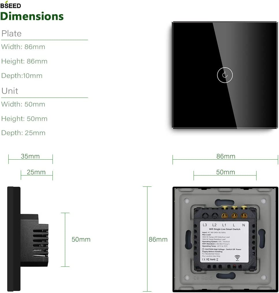 BSEED Capteur tactile Smart WiFi Interrupteurs de capteur alimentation neutre n/écessaire Interrupteur mural pour panneau de verre compatible Alexa//Tuya au Royaume-Uni 1 Gang 1 Way Noir