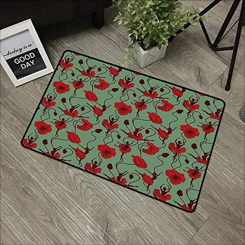 Door mat W35 x L47 INCH Poppy,Floral Arrangement with Abstract Ballerina Dance Themed Botanical Print,Green Chesnut Brown Red Non-Slip Door Mat Carpet]()