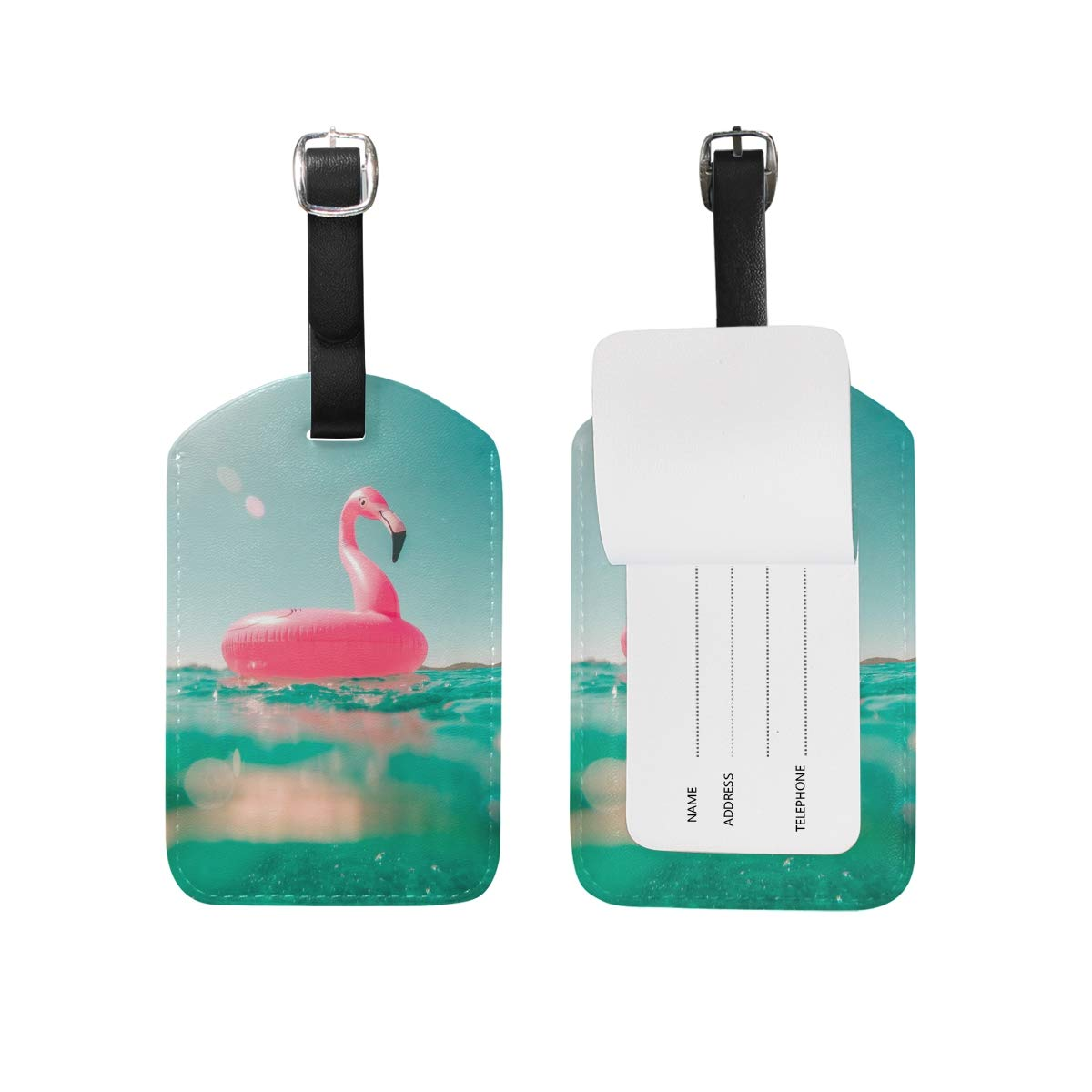 Aibileen Girl Funny Flamingo Design Luggage Tag for Baggage Suitcase Bag Leather 1 Piece