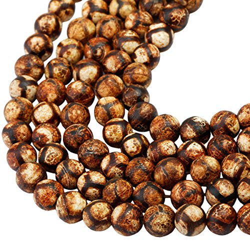 - SUNYIK Vintage Brown/Tan Striped Agate Loose Bead Stone for Jewelry Making 8mm Round 14