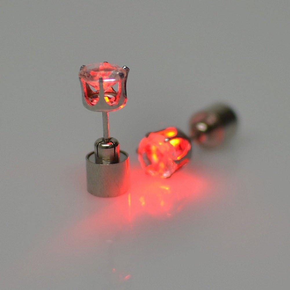 Pendientes LED con luz roja.