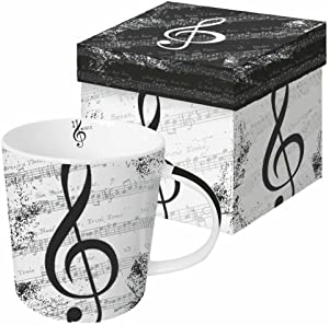 Paperproducts Design Decorative Bone China Mug Gift Box Set - Tabletop Kitchen Décor for Beverages, Hot, Cold Drinks, Tea – Artistic Designs, Decorated Mugs – 13.5 Ounces, I Love Music Design