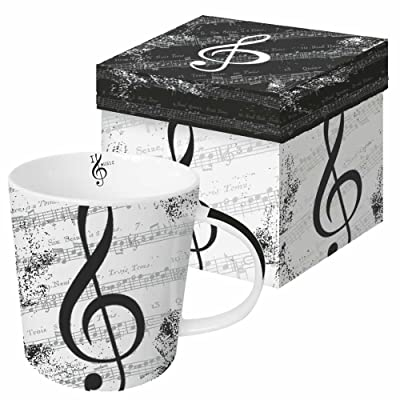 Paperproducts Design Gift Boxed Stoneware Mug, 13.5 oz, I Love Music, Multicolor