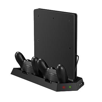 Younik PS4 Slim Support Ventilateur de refroidissement vertical avec  station de recharge dualshock Controller et chargeur c5e13defbf3