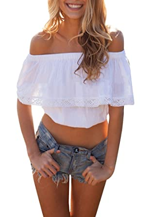 90d3984ae06 Creabygirls Women's Cute Fashion Off-Shoulder Lace Crop Top Blouse White  (Small)