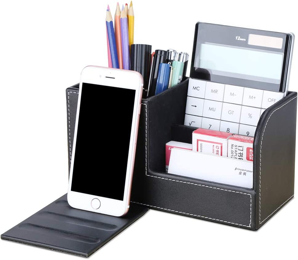 KINGFOM PU Leather Desk Organizer Pen Pencil Holder Business Name Cards Remote Control Holder (Black)