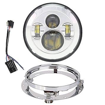 "7/"" LED Bulb Headlight Kit For Harley Heritage Softail Classic FLSTC"