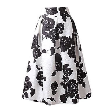 Qijinlook 💖 Faldas largas Mujer Fiesta Elegante/Falda Retro ...