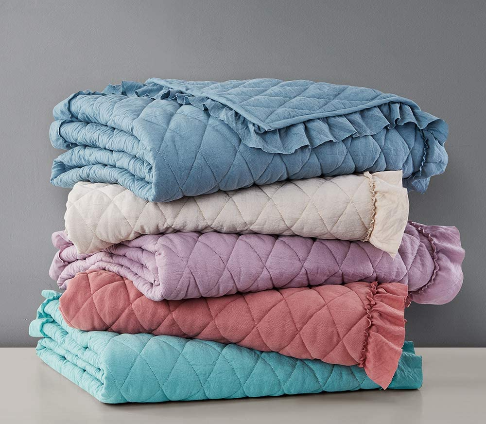 Quilted Throw Blanket with Ruffles Pre-Washed Microfiber Ultra Soft Cozy Lightweight for Couch Bed Sofa Throw