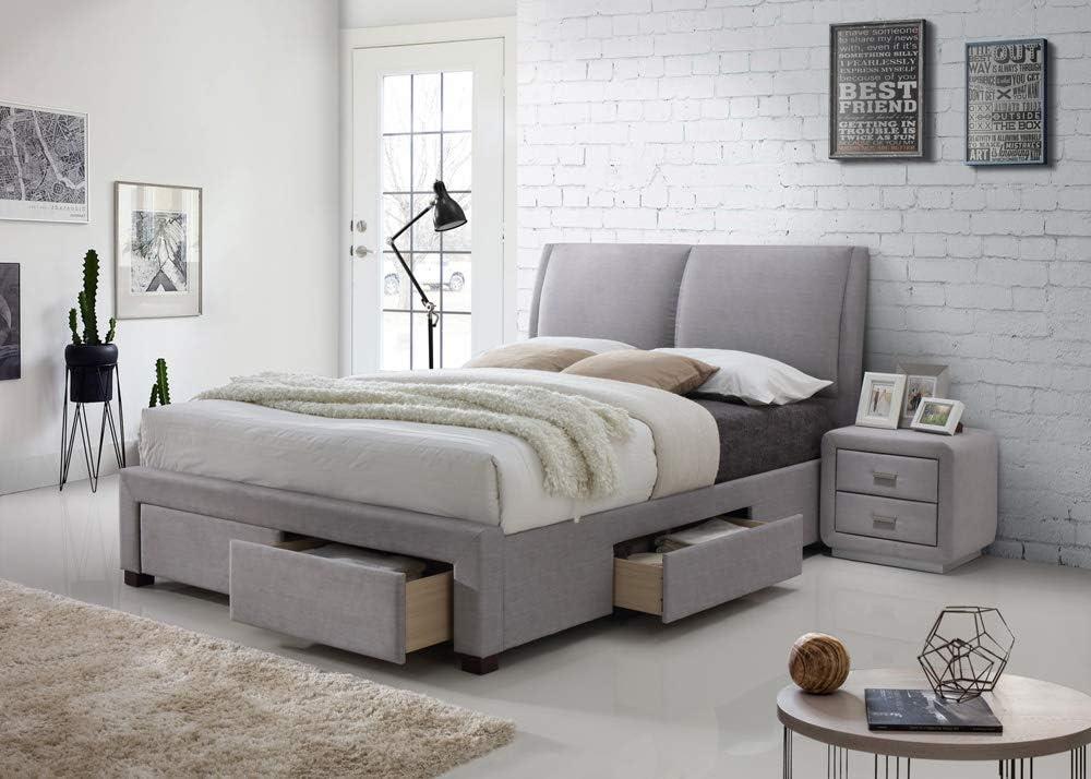 Montana 4 Drawer Storage Fabric Bed Upholstered King Size Light Dark Grey Modern Italian Style Designer Bedroom Furniture 4ft6 Double Light Grey Amazon Co Uk Kitchen Home