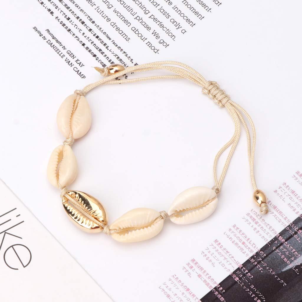 seluluory Bohemian Natural Shell Braided Bracelets Mujeres Joyer/ía de Moda Hecha a Mano